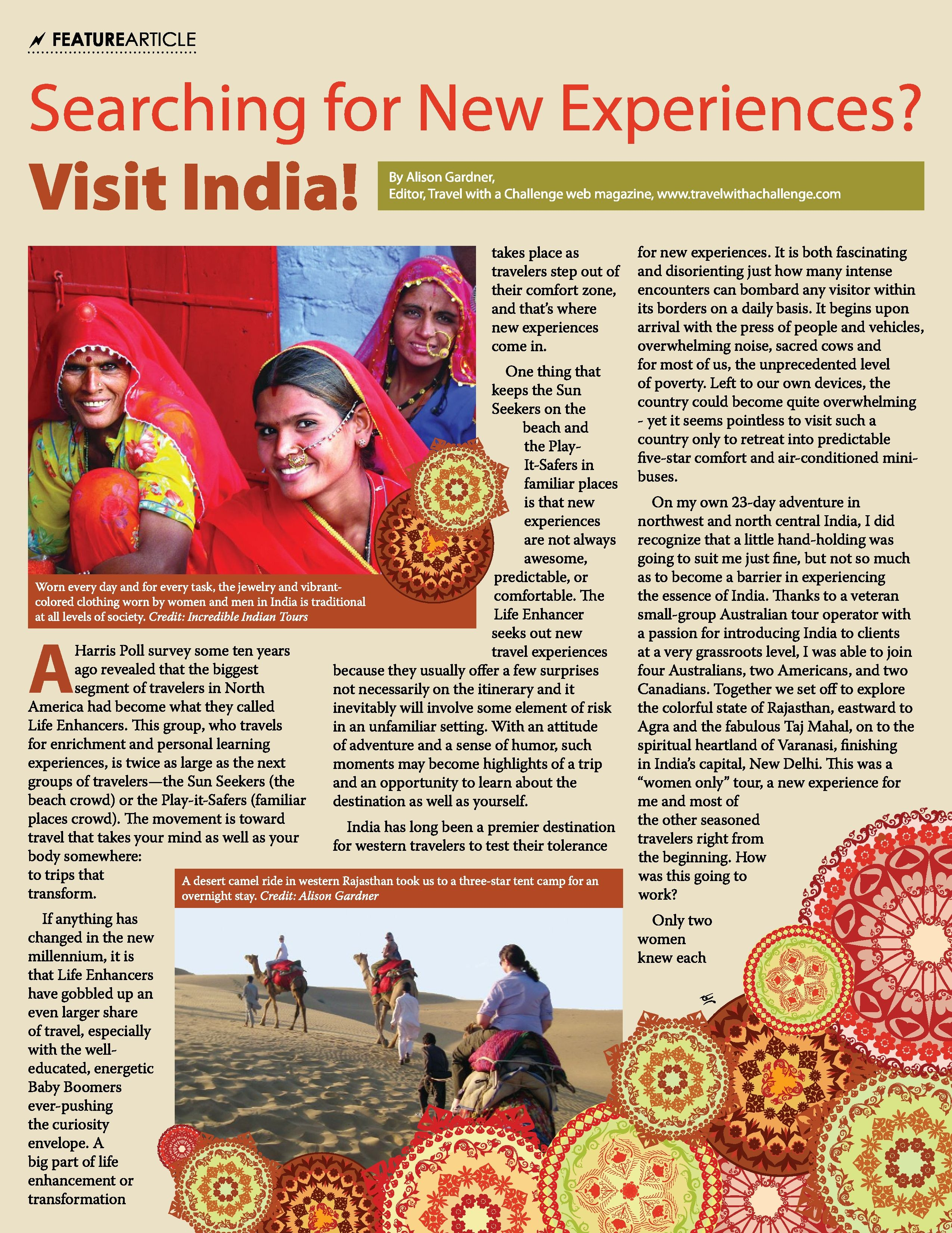 Thor Advantage Magazine Article on Incredible Indian Tours by Alison Gardner