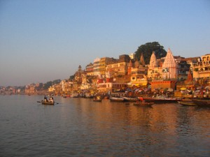 Varanasi Ghats lit by the morning sun