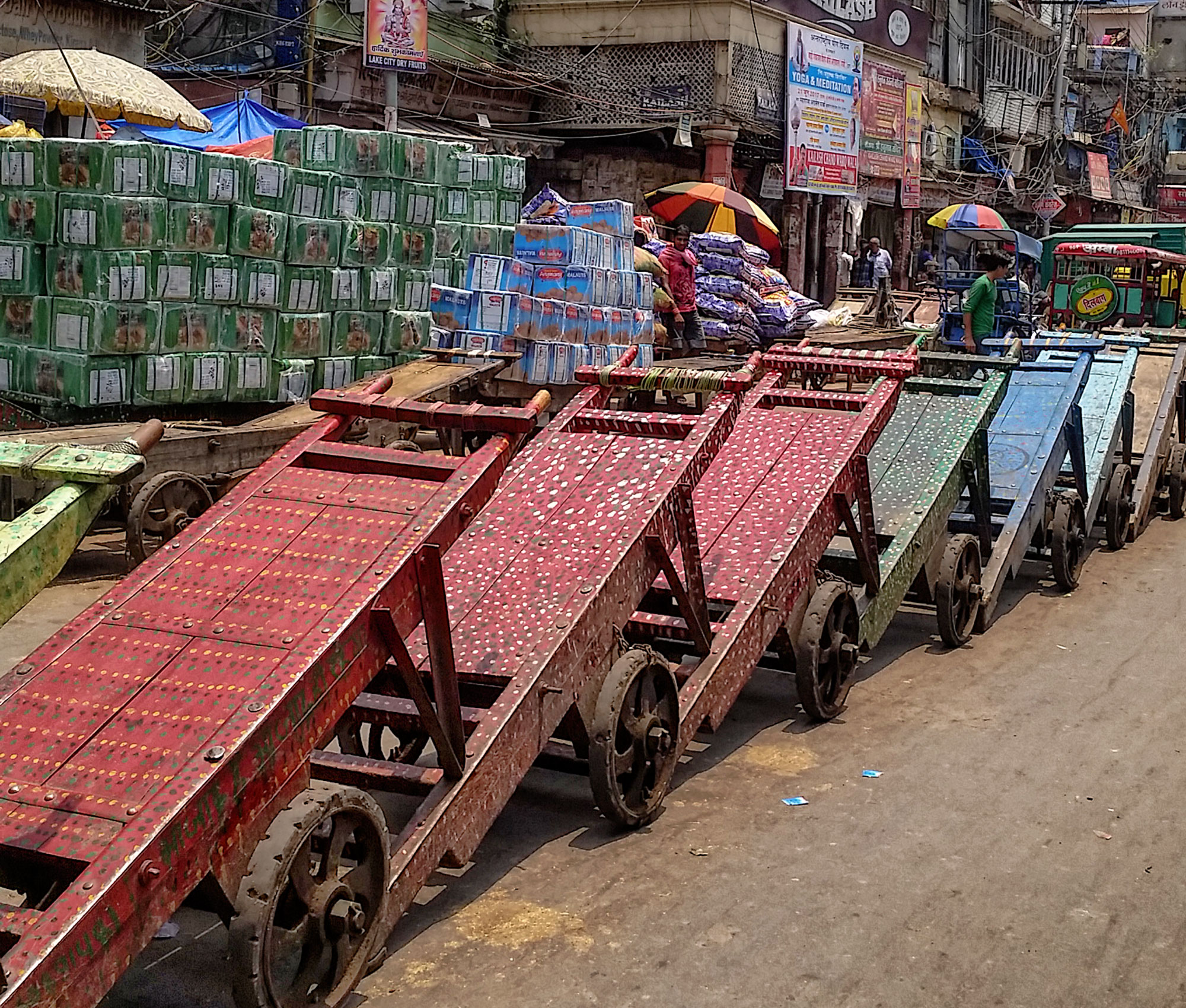 Carts outside the spice market, Old Delhi